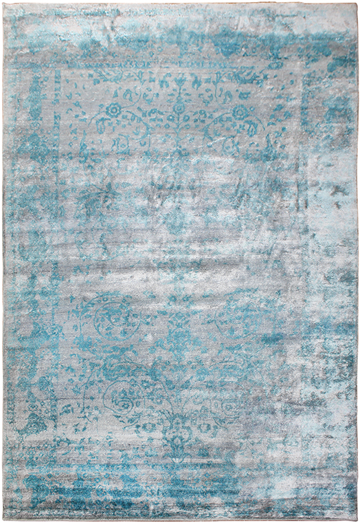 P-745 Teal Silver Carpets & Rugs