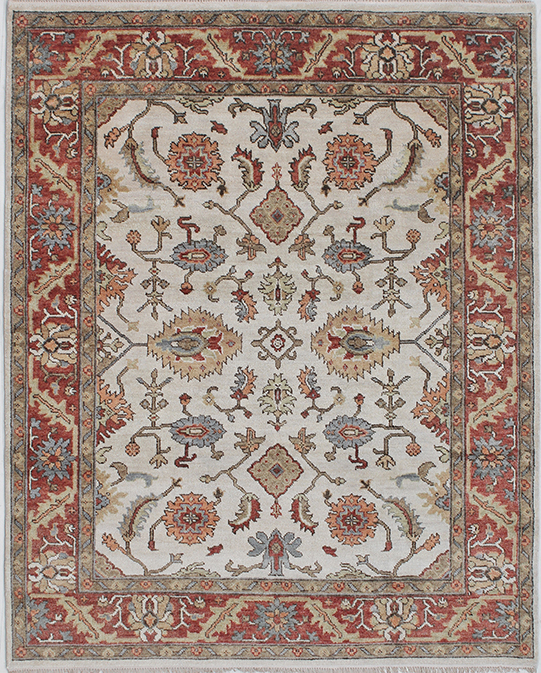 P-4037 Beige Red Carpets & Rugs