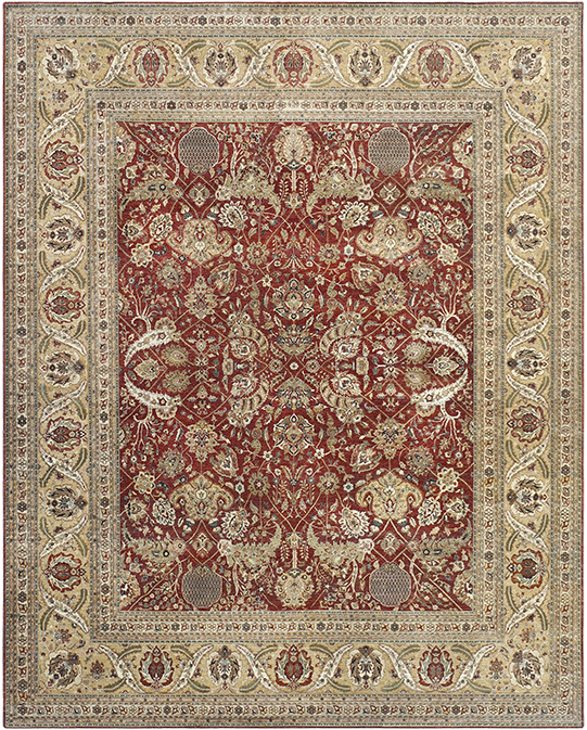 P-4235 Beige Red Carpets & Rugs