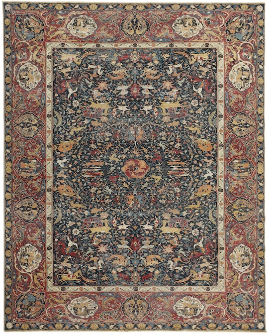 Animal Kirman (P-4396) Blue & Red Carpets & Rugs