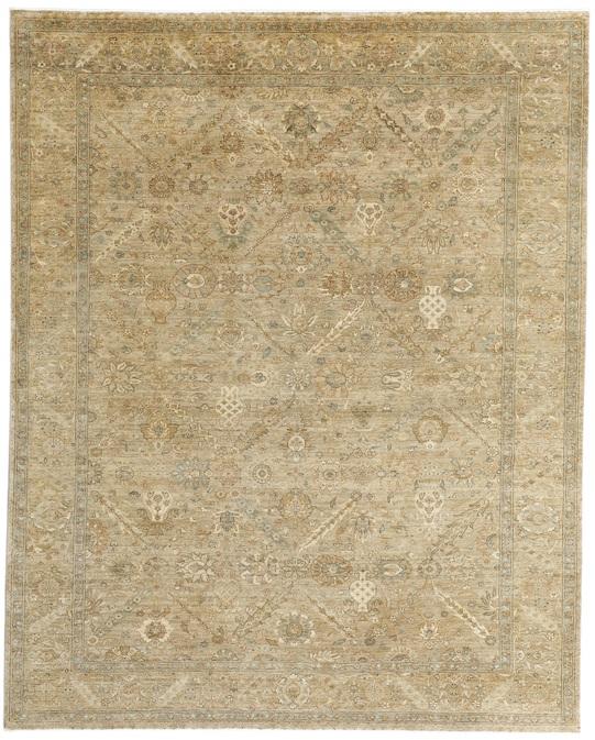 TABRIZ BENLIAN (P-4399) Brown Gold Carpets & Rugs