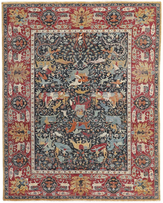 ANIMAL KIRMAN (P-4400) Blue & Red Carpets & Rugs